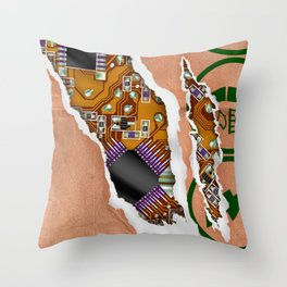 Ripped Paper Bag Circuit Board Throw Pillow