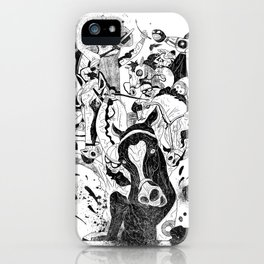 The Great Horse Race! B&W Edition iPhone Case