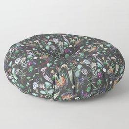 botanical illustration with dark background Floor Pillow