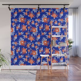 Florida floral orange and blue gators swamp varsity minimal university sports football fan Wall Mural