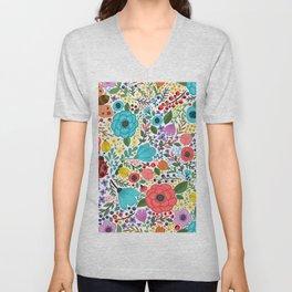 Colorful Vintage Spring Flowers Unisex V-Neck