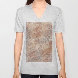 Cavern Clay SW 7701 and Abstract Distressed Chaotic Sponge Paint Pattern 2 Unisex V-Neck