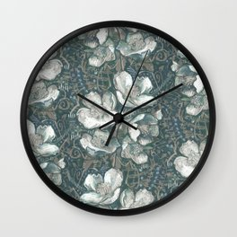 Jasmine Bloom, Vintage Floral Pattern, Gray Taupe White Wall Clock