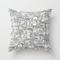 champagne Throw Pillows featuring NOTTINGHAM CHAMPAGNE by Sharon Turner