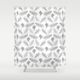 Black and White Fern Illustrated Print Shower Curtain