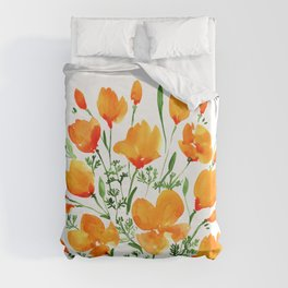 Watercolor California poppies Duvet Cover