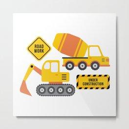 Construction Vehicles Gray Pattern Metal Print