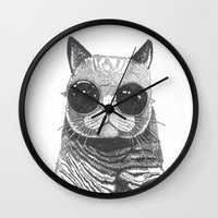 anaconda Wall Clocks featuring cool cat by Polkip
