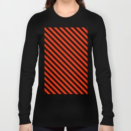 Bright Red and Black Diagonal LTR Stripes Long Sleeve T-shirt