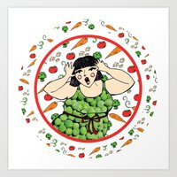 beth hoeckel Art Prints featuring veggie beth by anniegee