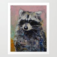 raccoon Art Prints featuring Raccoon by Michael Creese