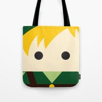 the legend of zelda Tote Bags featuring Legend Of Zelda Link  by heartfeltdesigns by Telahmarie