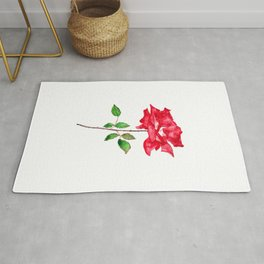 one red rose watercolor  Rug
