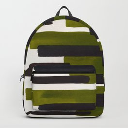 Olive Green Primitive Stripes Mid Century Modern Minimalist Watercolor Gouache Painting Colorful Str Backpack