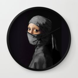 Ninja with a Pearl Earring Under Her Cowl Wall Clock