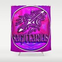 astrology Shower Curtains featuring Sagittarius Zodiac Sign Astrology by CAP Artwork & Design