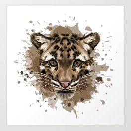 Clouded Leopard Stylized Digital Portrait Art Print