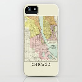 Vintage Map Of The Railroads In Chicago From 1897 iPhone Case