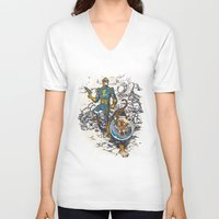 calvin hobbes V-neck T-shirts featuring Calvin: The Spiffy Spaceman by Captain_RibMan