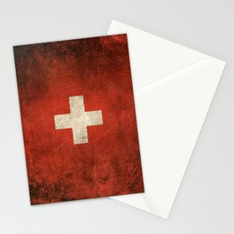 Old and Worn Distressed Vintage Flag of Switzerland Stationery Cards