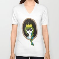 crown V-neck T-shirts featuring Crown by The Sketchy Neighborhood