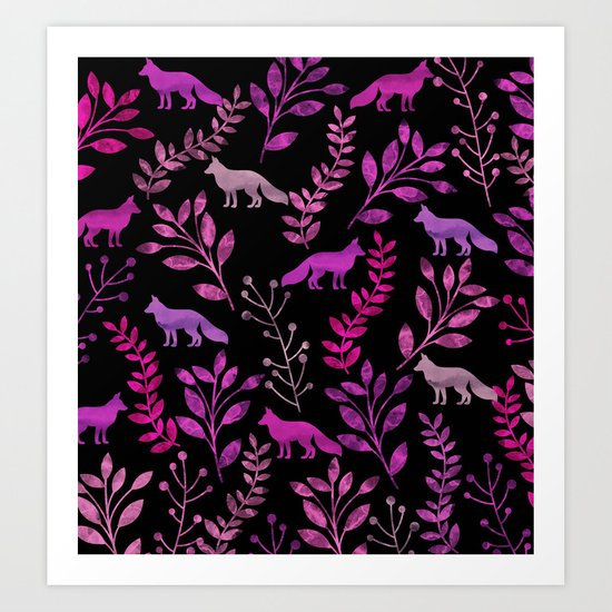 Watercolor Floral & Fox II Art Print