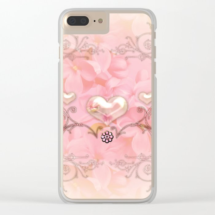Wonderful hearts with flowers Clear iPhone Case