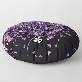 Nonbinary Pride Scattered Falling Flowers and Leaves Floor Pillow