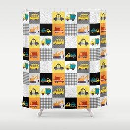 Patchwork Cars Trucks Kids Quilt Pattern Shower Curtain