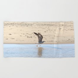 Seagull bird taking off Beach Towel