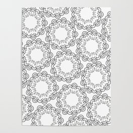 Abstract geometrical black white hand painted mandala Poster