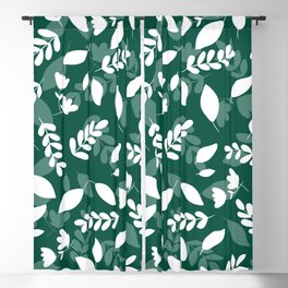 Forest Green White Greenery Foliage Illustration Blackout Curtain