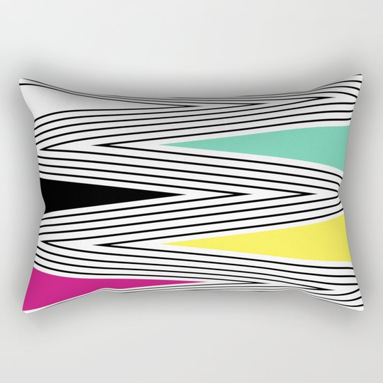Abstract pattern of zigzag and triangles 3 . Rectangular Pillow