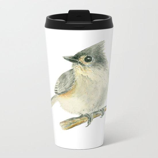 Tit bird, watercolor painting Metal Travel Mug