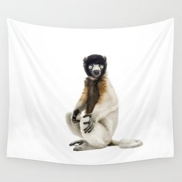 One year old Crowned Sifaka Wall Tapestry