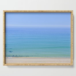 Turquoise Sea View, Porthmeor Beach St Ives Cornwall - Landscape and Nature Photography Serving Tray