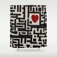 labyrinth Shower Curtains featuring Love Labyrinth by Barruf designs