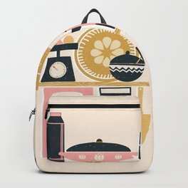 Colorful Cooking In A Mid Century Scandinavian Kitchen Backpack