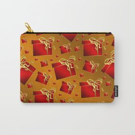 many small red gifts with golden bow on gold brown Carry-All Pouch