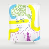 "tim shumate Shower Curtains featuring ""The Electric Lady"" by Tim Lukowiak by Consequence of Sound"