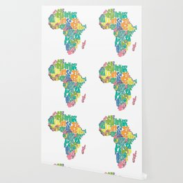 African Continent Cloud Map In Pastels Wallpaper