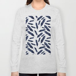 Watercolor pattern with navi feathers Long Sleeve T-shirt