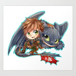 Httyd 2 - Chibi Hiccup and Toothless Art Print