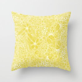 Modern trendy white floral lace hand drawn pattern on meadowlark yellow Throw Pillow