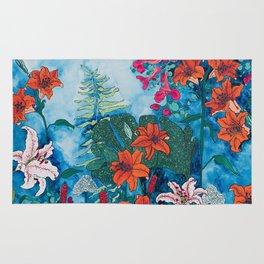 Blue Jungle of Orange Lily and Pink Trumpet Vine Floral Rug