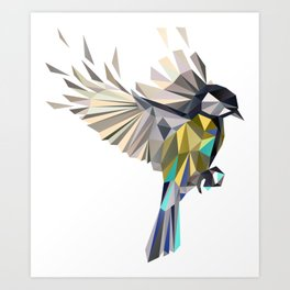 Flying Songbird Cyanistes Caeruleus Blue Tit Bird Art Print