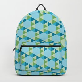 Retro Pattern Hexagons and Triangles Blue/Green Backpack