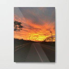 Desolate road at sunset Metal Print