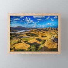 Scenic Golden Hills Landscape Photography Framed Mini Art Print