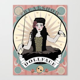 Doll Face Vintage Circus Poster Canvas Print